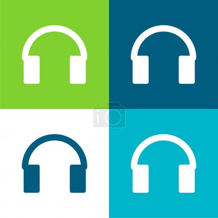 Illustration for Audio Tool For Head Flat four color minimal icon set - Royalty Free Image
