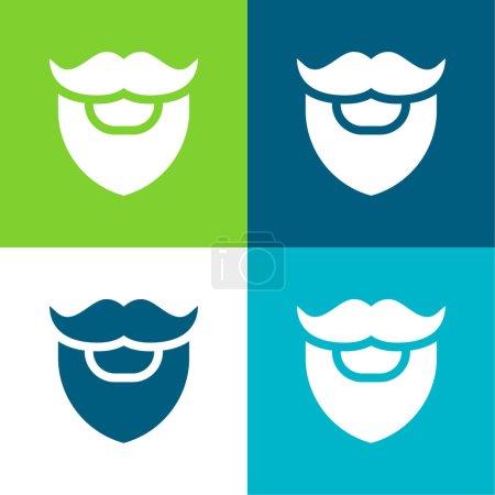 Illustration pour Barbe Ensemble d'icônes minime plat quatre couleurs - image libre de droit