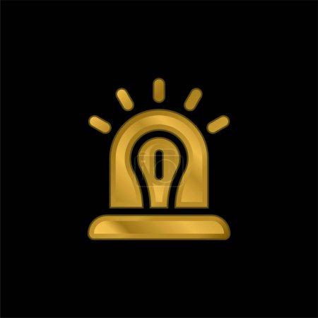 Illustration pour Alerte icône métallique plaqué or ou logo vecteur - image libre de droit