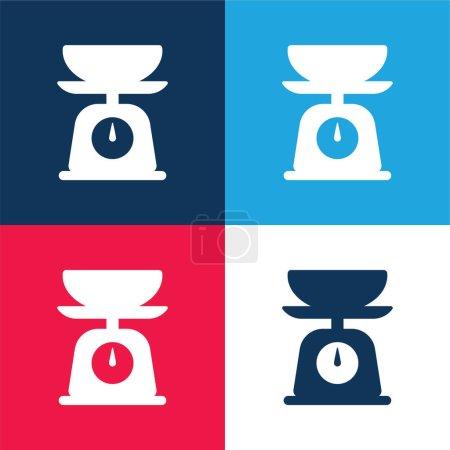 Bilan bleu et rouge quatre couleurs minimum jeu d'icônes