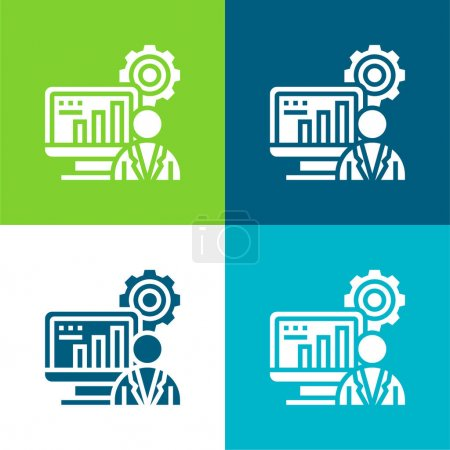 Illustration for Administrator Flat four color minimal icon set - Royalty Free Image