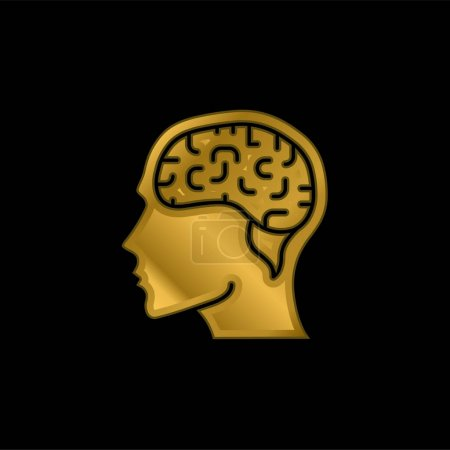 Brain gold plated metalic icon or logo vector