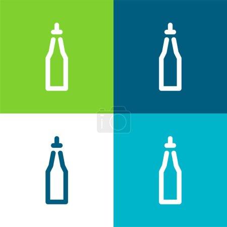 Illustration for Bottle Flat four color minimal icon set - Royalty Free Image