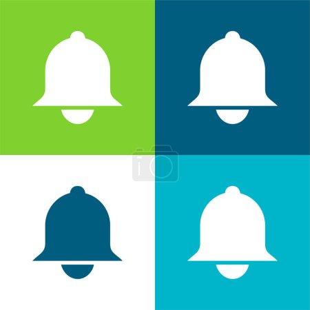 Illustration pour Bell Ensemble d'icônes minimal plat quatre couleurs - image libre de droit