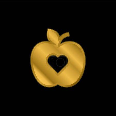 Photo pour Icône métallique plaqué or pomme ou vecteur de logo - image libre de droit