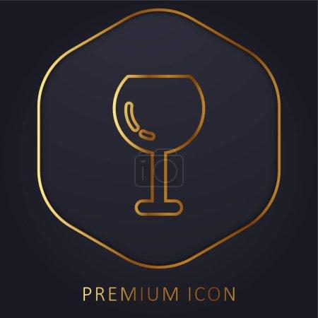 Illustration pour Gros Vin Verre ligne d'or logo premium ou icône - image libre de droit