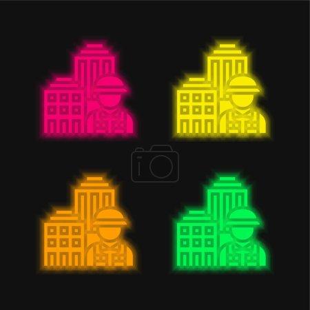 Illustration pour Architecture quatre couleurs rougeoyantes icône vectorielle néon - image libre de droit