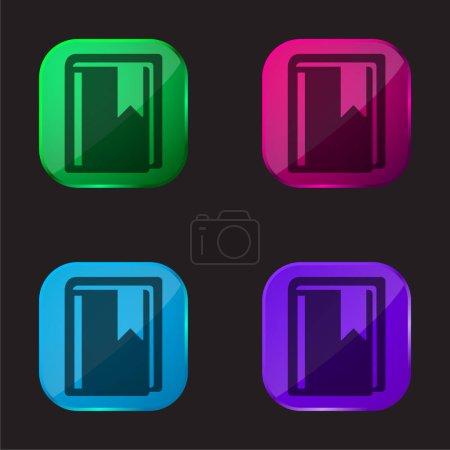 Illustration pour Livre avec signet icône de bouton en verre de quatre couleurs - image libre de droit