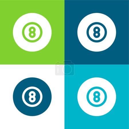 Photo pour Billard plat quatre couleurs minimum jeu d'icônes - image libre de droit