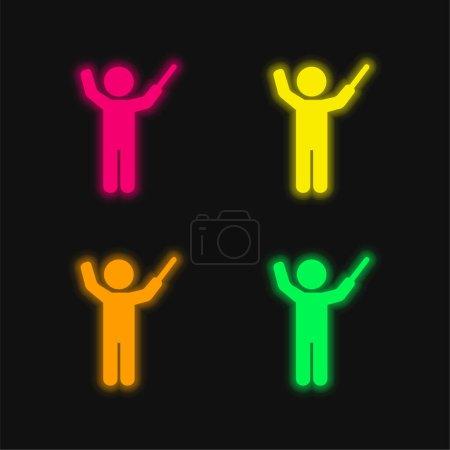 Bandmaster cuatro colores brillante icono de vectores de neón