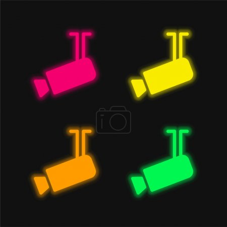 Illustration for Airport Security Camera four color glowing neon vector icon - Royalty Free Image
