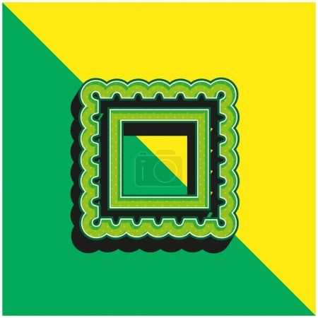 Illustration for Border For Frame Pictures Green and yellow modern 3d vector icon logo - Royalty Free Image