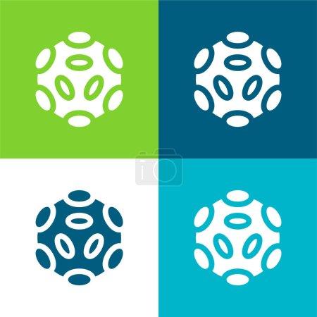 Photo pour Bactéries Ensemble d'icônes minimal plat à quatre couleurs - image libre de droit