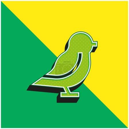 Illustration pour Oiseau Logo vectoriel 3D moderne vert et jaune - image libre de droit