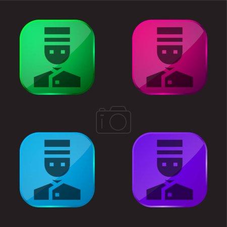Illustration pour Bellhop icône bouton en verre quatre couleurs - image libre de droit