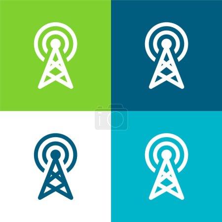Antenna Flat four color minimal icon set