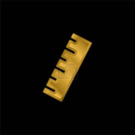 Illustration pour Règle noire plaqué or icône métallique ou vecteur de logo - image libre de droit