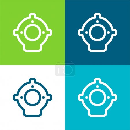 Aqualung Flat four color minimal icon set
