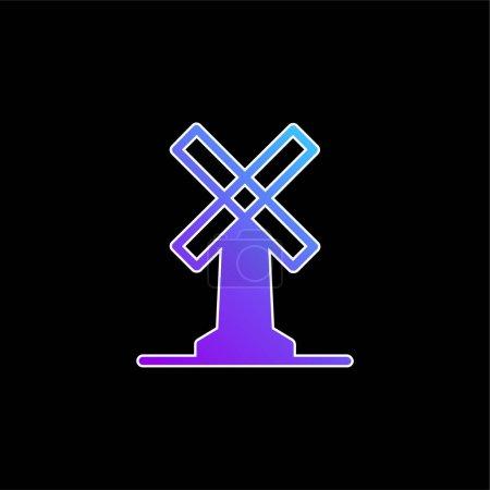 Illustration pour Grande icône vectorielle de dégradé bleu moulin à vent - image libre de droit