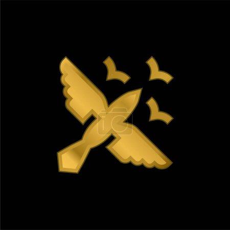 Photo pour Oiseaux icône métallique plaqué or ou vecteur de logo - image libre de droit