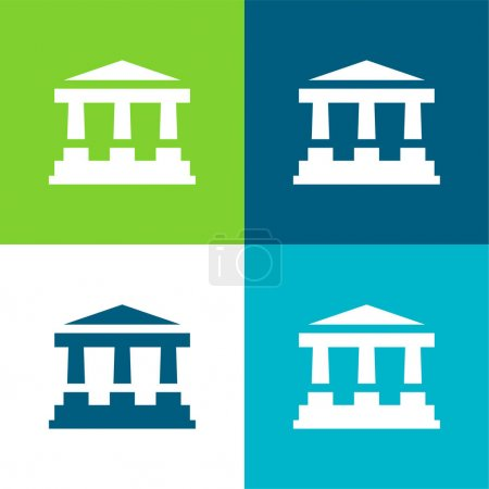 Illustration for Bank Flat four color minimal icon set - Royalty Free Image