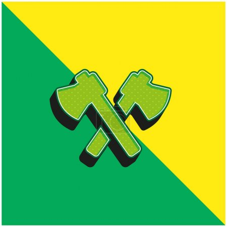 Illustration for Axes Green and yellow modern 3d vector icon logo - Royalty Free Image