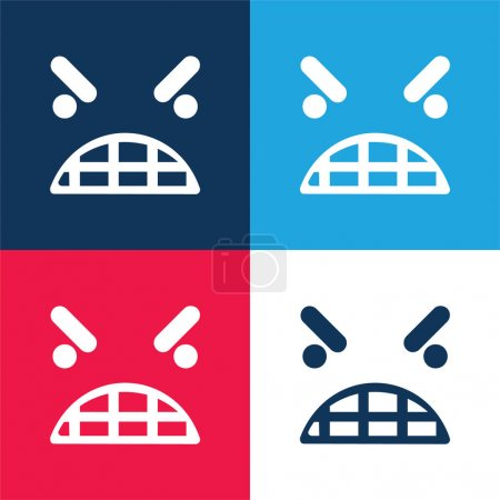 Anger Emoticon Square Face blue and red four color minimal icon set