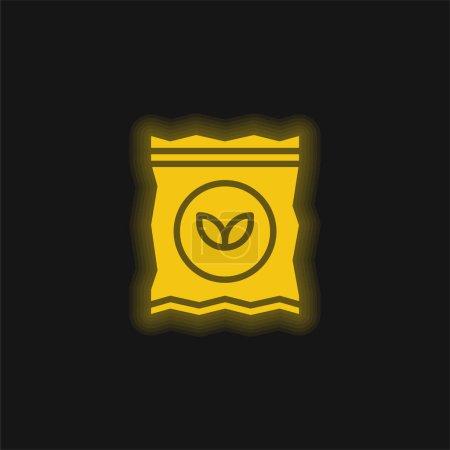 Illustration pour Sac jaune brillant icône néon - image libre de droit