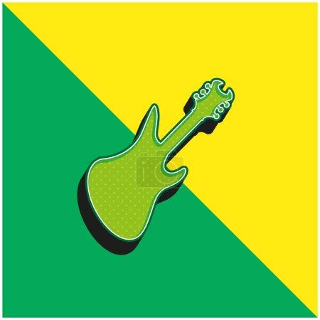 Illustration pour Basse Guitare Noir Silhouette Vert et jaune moderne icône vectorielle 3d logo - image libre de droit