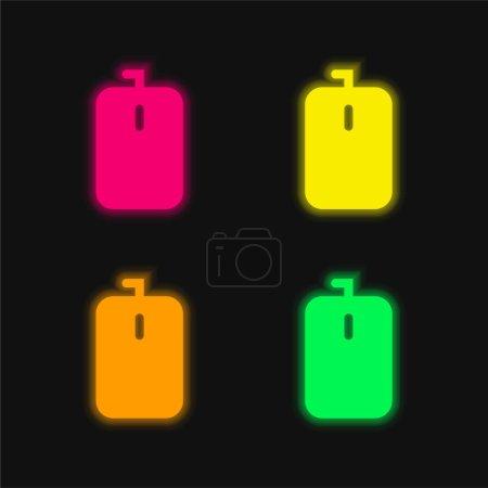 Illustration pour Sac arrondi Rectangulaire Noir Outil Forme quatre couleur brillant néon vecteur icône - image libre de droit