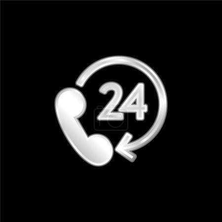 Illustration pour Support 24 heures icône métallique argentée - image libre de droit