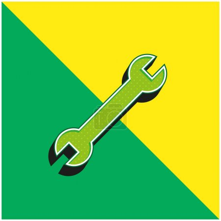 Illustration pour Clé réglable Logo vectoriel 3D moderne vert et jaune - image libre de droit