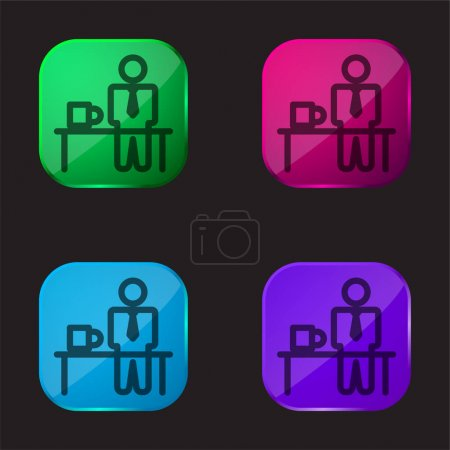 Illustration pour Temps de pause icône bouton en verre quatre couleurs - image libre de droit