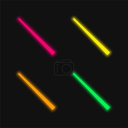 Illustration pour Billard quatre couleurs brillant icône vectorielle néon - image libre de droit