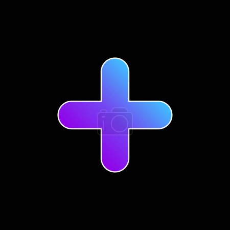 Illustration for Addition Sign blue gradient vector icon - Royalty Free Image