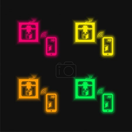 Illustration for 3d Printer Connected To Tablet By Wireless Signal four color glowing neon vector icon - Royalty Free Image