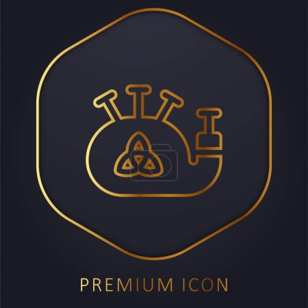Illustration for Bagpipe golden line premium logo or icon - Royalty Free Image