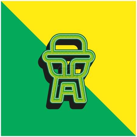 Photo pour Chaise bébé Logo vectoriel 3D moderne vert et jaune - image libre de droit