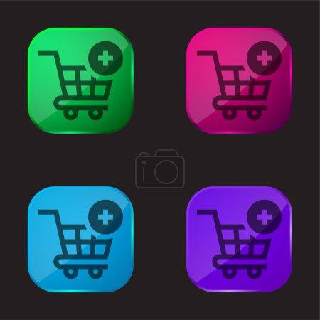 Photo pour Ajouter au panier icône de bouton en verre de quatre couleurs - image libre de droit