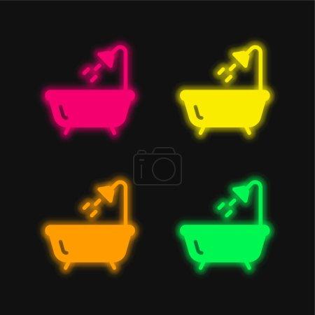 Bath four color glowing neon vector icon