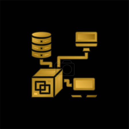 Illustration for Application gold plated metalic icon or logo vector - Royalty Free Image