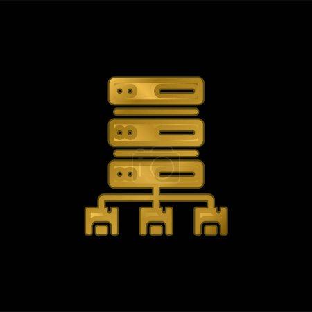 Illustration pour Icône métallique plaqué or Big Data ou vecteur de logo - image libre de droit