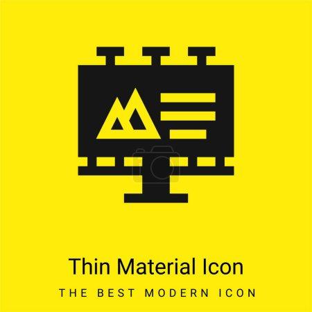Photo pour Panneau d'affichage minime icône matérielle jaune vif - image libre de droit