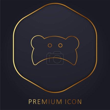 Baby Bear Head Silhouette golden line premium logo or icon