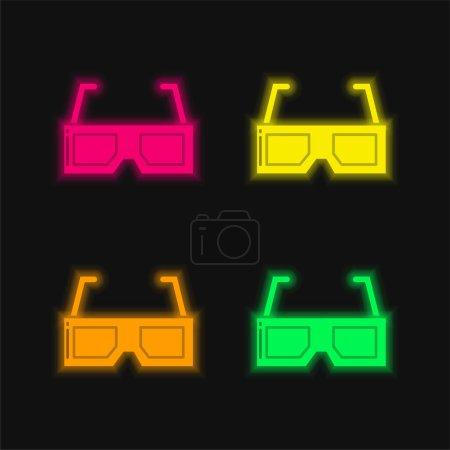 Illustration pour Lunettes 3D quatre couleurs rougeoyantes icône vectorielle néon - image libre de droit