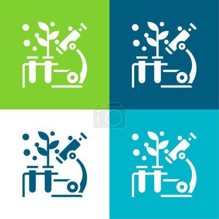 Illustration pour Biologie Ensemble d'icônes minimal plat à quatre couleurs - image libre de droit