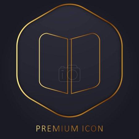 Illustration pour Livre noir ouvert Symbole ligne d'or logo premium ou icône - image libre de droit