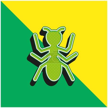 Photo pour Ant Logo vectoriel 3D moderne vert et jaune - image libre de droit