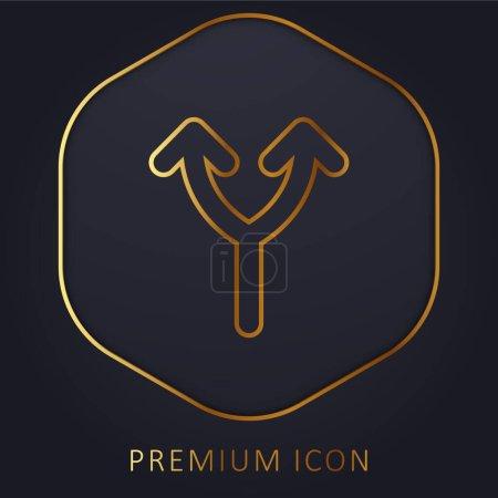 Illustration pour Bifurcation de la flèche vers le haut ligne d'or logo premium ou icône - image libre de droit