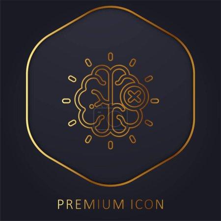 Photo pour Cerveau ligne d'or logo premium ou icône - image libre de droit